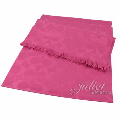 茱麗葉精品 全新精品 COACH 86011 經典LOGO圖案羊毛絲質披肩長圍巾.桃紅