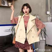 背心外套 秋裝韓版學院風翻領毛邊夾克寬鬆短款外套無袖牛仔背心馬甲女 辛瑞拉