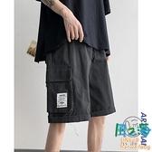 夏季直筒工裝短褲男士韓版黑色寬鬆港風五分休閒褲潮【風之海】
