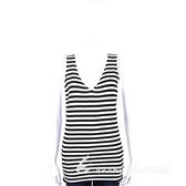 ALLUDE 40%CASHMERE V領條紋無袖針織上衣(黑X白) 1440543-37