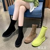 平底短靴 女2019秋款女中筒瘦瘦鞋新款百搭馬丁靴英倫風 BT14171『優童屋』