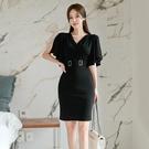 OL洋裝 女神範連身裙2021夏季韓版V領收腰性感法式設計感修身包臀禮服裙