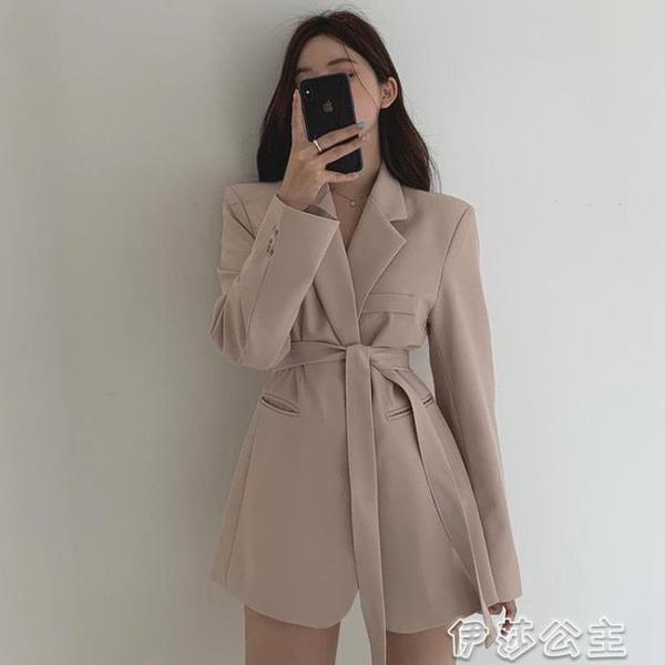 西裝外套 韓國chic優雅法式西裝領兩粒扣系帶收腰顯瘦雙口袋寬鬆西服外套女 交換禮物