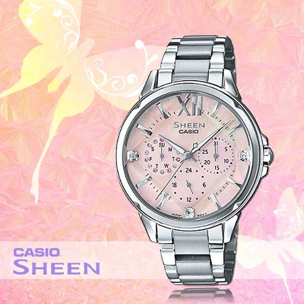 CASIO 手錶專賣店 CASIO_ SHE-3056D-4A_時尚三眼女錶_全新品_保固一年