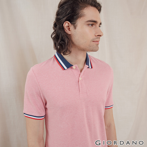 【GIORDANO】男裝素色線條拼接POLO衫 - 60 雪花薔薇粉紅