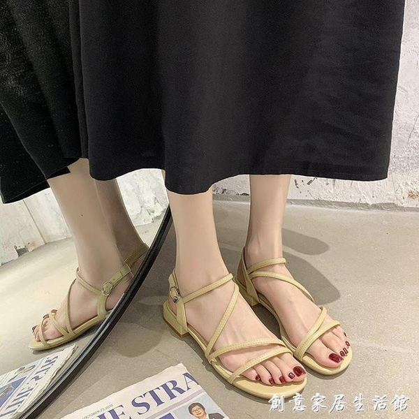 涼鞋女低粗跟仙女風配裙子2021年夏季新款時尚一字帶時裝鞋ins潮 創意家居生活館