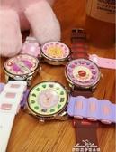 韓國手錶女學生日繫原宿軟妹可愛糖果色撞色卡通粉萌圓形石英女錶『新年禮物』