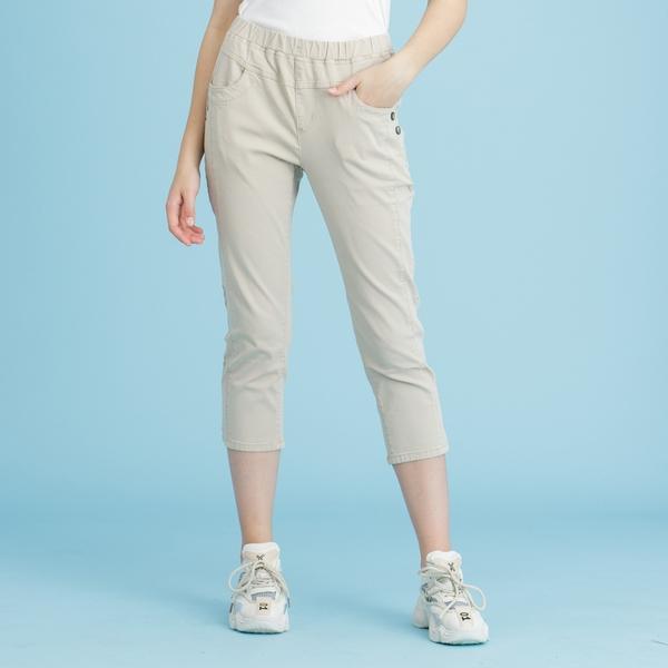 【中大尺碼】MIT顯瘦二釦冰涼牛仔中褲