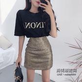 字母印花T恤 高腰包臀半身裙兩件套時尚短裙套裝女裝