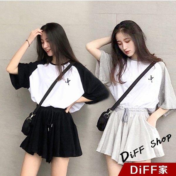 【DIFF】韓版氣質學生風運動套裝 短裙 短褲 女裝 上衣 短袖 T恤 衣服 兩件式套裝【S52】