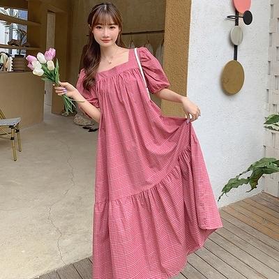 洋裝 雪紡裙方領泡泡袖大碼連身裙夏復古收腰甜美格子夏天顯瘦長裙NE34紅粉佳人