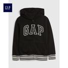 Gap男童 Logo印花落肩長袖連帽休閒外套 491327-正黑色