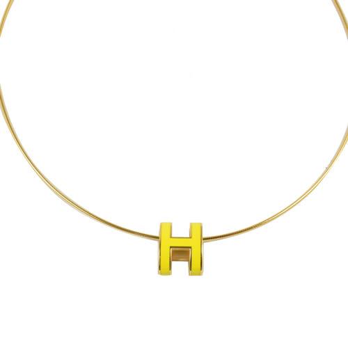茱麗葉精品 全新精品HERMES 時尚配件經典H LOGO橢圓銀飾項鍊.金/黃