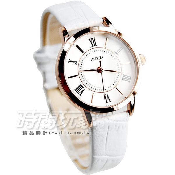KEZZI珂紫 經典時尚腕錶 皮革錶帶 女錶 羅馬數字時刻 白色x玫瑰金 韓版 韓系 正韓 韓國 KE994玫白小