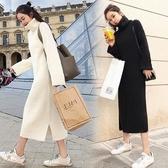 秋冬新款網紅寬鬆高領中長款過膝套頭慵懶風毛衣女針織連身裙 韓國時尚週