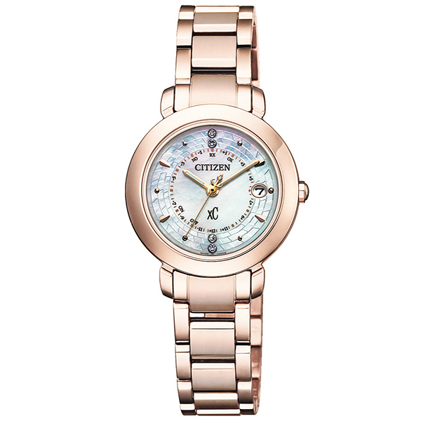 【台南 時代鐘錶 CITIZEN】星辰 xC 電波光動能 典雅萬年曆晶鑽腕錶 ES9444-50X 櫻花粉紅 27mm 限量