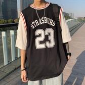 2020新款夏季假兩件男生籃球短袖T恤寬鬆ins韓版衣服潮流球衣 【ifashion·全店免運】