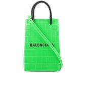 【BALENCIAGA】Logo牛皮壓鱷魚紋購物手機袋(螢光綠) 593826 1U61N 3860