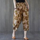 依多多 長褲 時尚復古棉麻印花大口袋哈倫褲