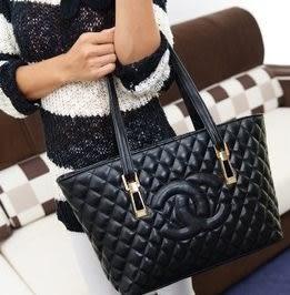 預購-韓版時尚雙C菱格手提包