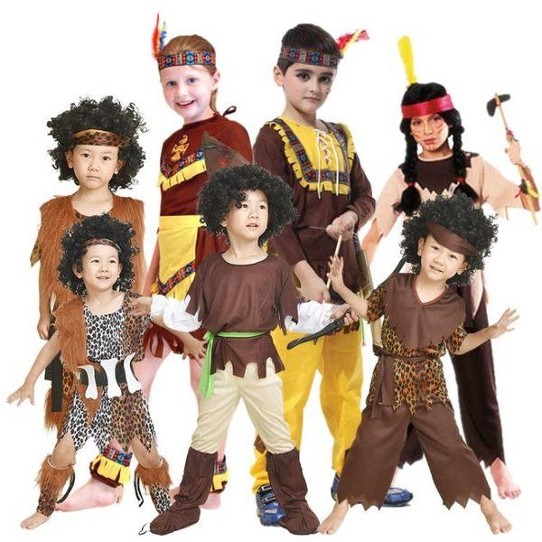 萬聖節服裝cosplay演出服衣服男童女童土著人非洲原始印第安野人 艾維朵