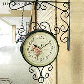 時鐘韓版歐式鐘錶客廳靜音田園白色現代簡約鐵藝雙面掛鐘 wy   八折免運 最後一天