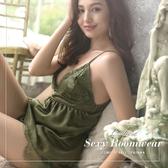 睡衣 Ladoore 專屬天使 絲滑蕾絲兩件式睡衣(綠)