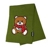 MOSCHINO 圍巾泰迪熊混紡羊毛窄版圍巾(欖綠)