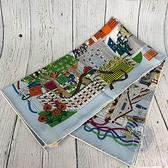 BRAND楓月 HERMES 愛馬仕 皮件工坊 百貨公司 小橘盒 童趣 彩色印花 絲巾 領巾 包包配件