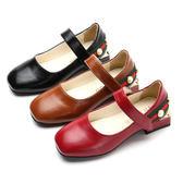 【Kidsfam】純色珍珠方跟女童休閒皮鞋 紅色黑色棕色3色兒童款