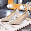 高跟鞋 尖頭高跟鞋女2021年新款春秋設計感小眾氣質春款細跟伴娘鞋婚鞋夏【618 購物】衣櫃