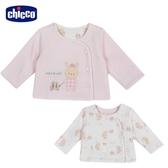 chicco-粉彩-剪毛絨+滿底印花雙面外套-粉