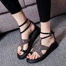 現貨 厚底涼鞋閃亮星星涼鞋休閒女鞋......