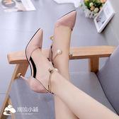 高跟涼鞋 細跟尖頭高跟鞋淺口黑色包頭中空涼鞋女夏7cm珍珠腳環 潮流小鋪