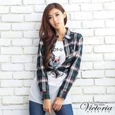 Victoria 鉚釘貼袋格紋襯衫-綠-V1502743(領劵再折)