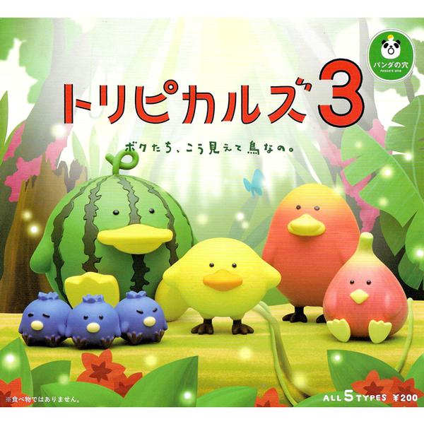 全套5款【日本正版】熱帶水果鳥 公仔 P3 扭蛋 轉蛋 水果鳥 熊貓之穴 - 890444