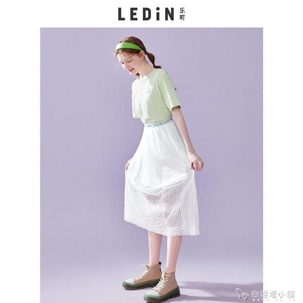 樂町半身裙中長款夏季新款女裝印花織帶紗裙半身裙女 安妮塔小铺