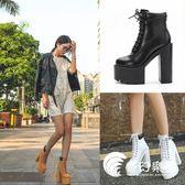 2018新款歐美女鞋粗跟馬丁靴松糕超高跟防水臺舞臺演出DS短靴單靴-奇幻樂園