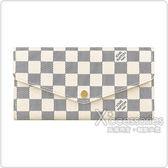 LV N63208 SARAH棋盤格LOGO DAMIER AZUR帆布16卡扣式長夾(白)