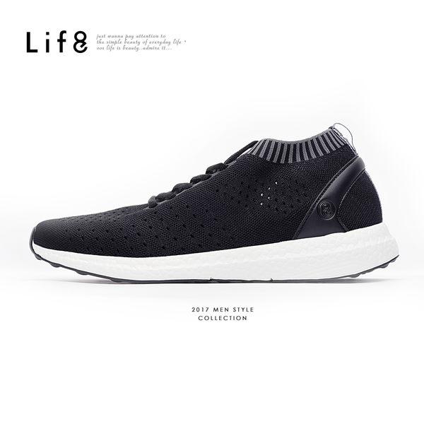 Sport 超透氣 輕量飛織運動鞋-黑色【09788】