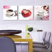 冰晶玻璃餐廳畫裝飾畫三聯玫瑰花咖啡杯子掛畫無框畫背景墻畫壁畫LG-67284