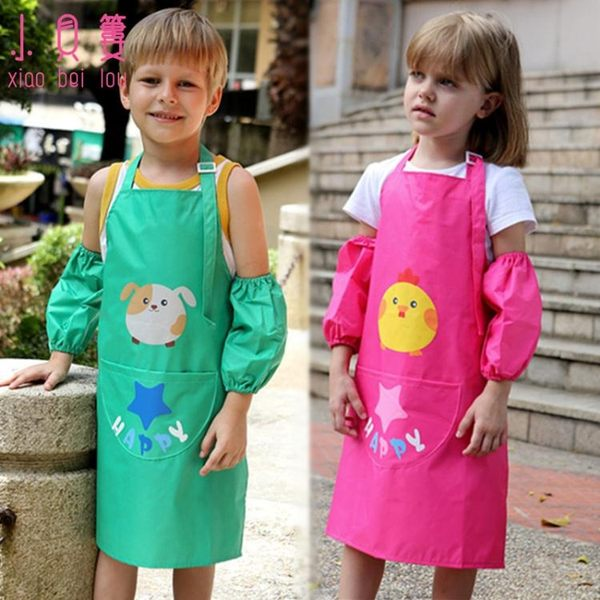 兒童畫衣小孩防水圍裙寶寶吃飯衣男女童卡通罩衣幼兒免洗反穿衣【雙十一全館打骨折】
