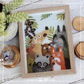 羊毛氈戳戳樂刺繡畫材料包 森林動物相框畫 手工djy生日禮物新款