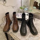 馬丁靴棕色方頭馬丁靴女英倫風2021秋冬季新款ins潮網紅瘦瘦炸街短靴子 雲朵走走