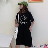 短袖連身裙 2021夏裝新款韓版流行口袋寬鬆開叉中長款超火短袖t恤女連身裙 coco衣巷