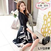 LIYO理優MIT印花拼接洋裝E636016