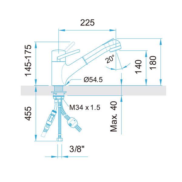 【歐雅系統家具】ARWA 瑞士頂級龍頭 39655-100 花灑伸縮龍