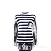 ALLUDE 40%CASHMERE 橫條紋拼接長袖上衣(藍白色) 1440550-34