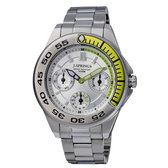 J.SPRINGS系列  八度空間三眼時尚腕錶-綠X銀