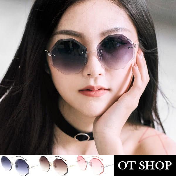 OT SHOP太陽眼鏡‧歐美時尚復古雙色海洋鏡片無框抗UV400墨鏡‧漸層灰/漸層茶/漸層粉‧現貨‧U88